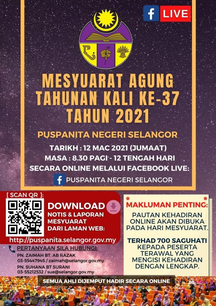 Poster PDF AGM PUSPANITA SELANGOR 2021 Dengan QR Code